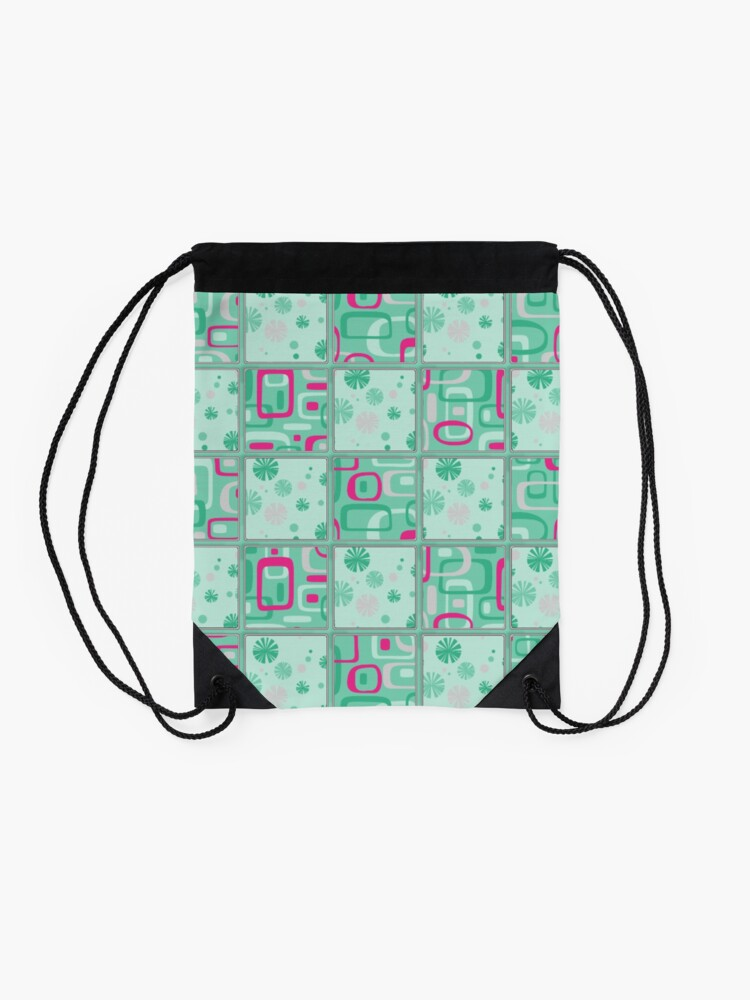Alternate view of HIGH SELLING RETRO 1950S INSPIRED CHECKS IN PINK AND AQUA  Drawstring Bag