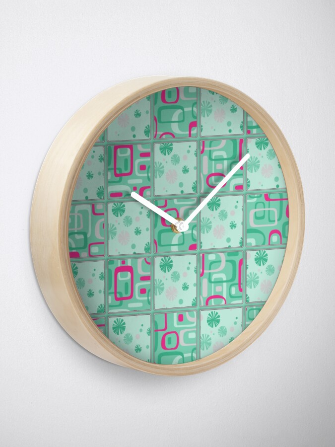 Alternate view of HIGH SELLING RETRO 1950S INSPIRED CHECKS IN PINK AND AQUA  Clock