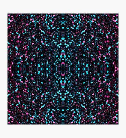 Sparkly pink blue mosaic glitter sparkles Mandala Photographic Print