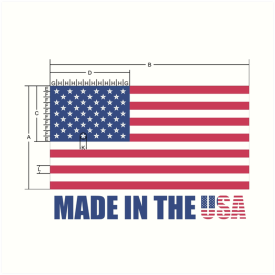 Made In The Usa Us Flag Schematic Diagram Art Prints By