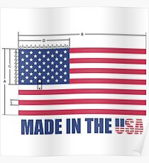 Made In the USA US Flag - Schematic Diagram  Poster