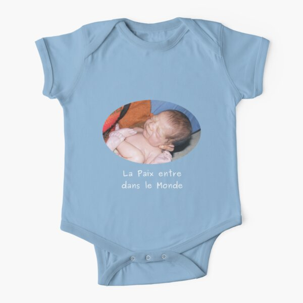 Peace in the World - Blue baby clothes Short Sleeve Baby One-Piece