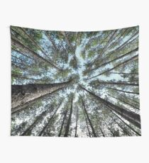 Tree tops of pine forest art photo print Wall Tapestry