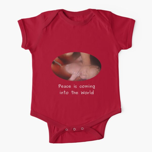 Peace into the World - Red baby clothes Short Sleeve Baby One-Piece