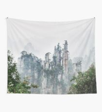 Mountain peaks in fog Zhangjiajie National Forest Park art photo print Wall Tapestry