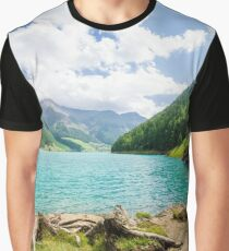 Landscape with lake and small spiaggetta lawn of the Trentino Alto Adige Graphic T-Shirt