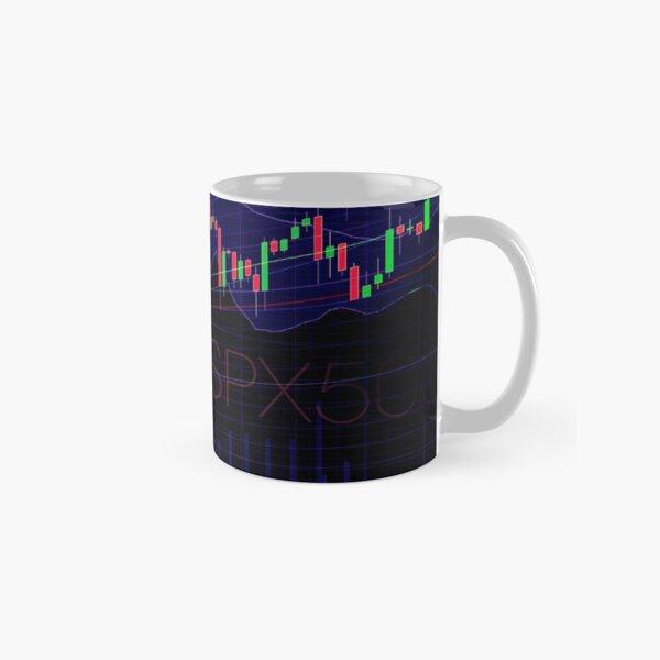 Stock market trading SPX500 charts concept art print Classic Mug
