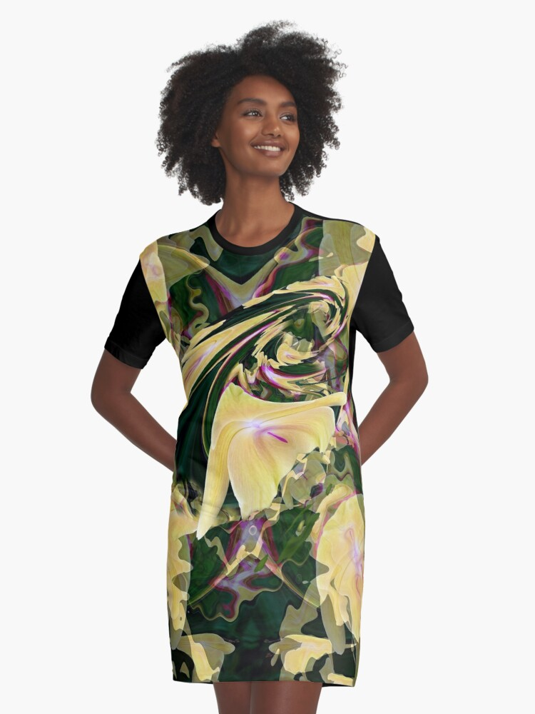 Yellow Orchid Swirl Graphic T-Shirt Dress Front