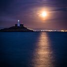 Mumbles Lighthouse Moon Rise by Purple128
