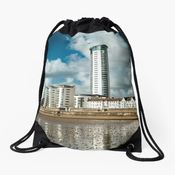 Meridian Tower, Swansea Drawstring Bag