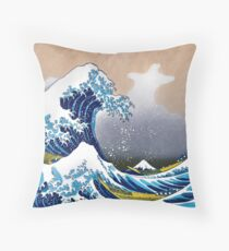 Great Wave off Kanagawa by Hokusai Wall Tapestry Vectorized HD High Quality (Click on Artist Notes) Throw Pillow