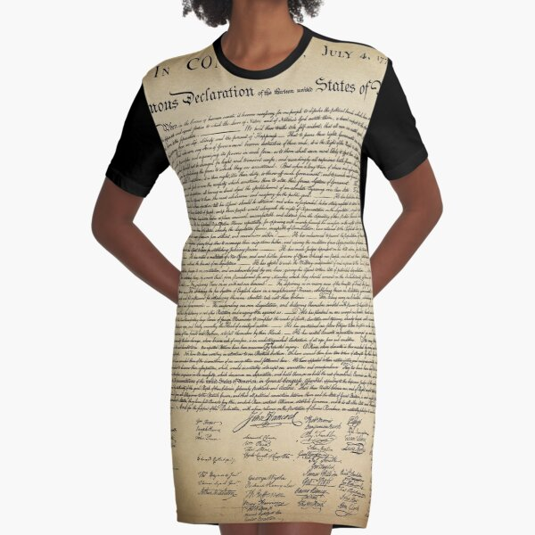 Vintage Declaration of Independence Graphic T-Shirt Dress