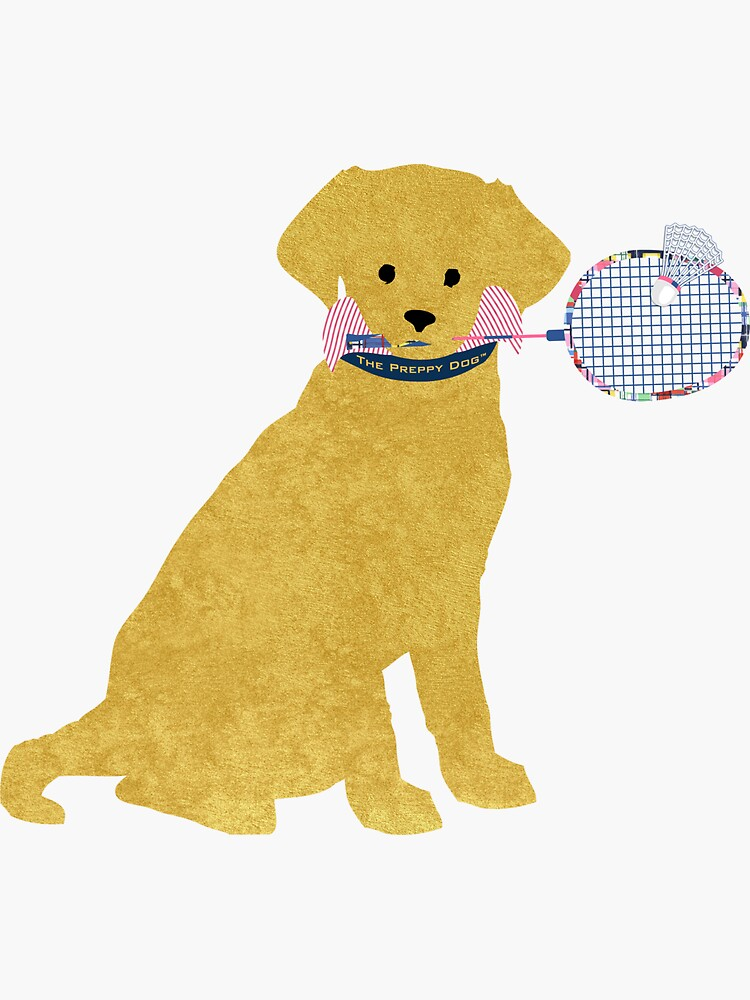 Preppy Golden Retriever Badminton Dog by emrdesigns