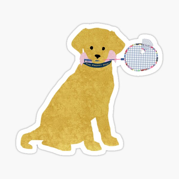 Preppy Golden Retriever Badminton Dog Sticker