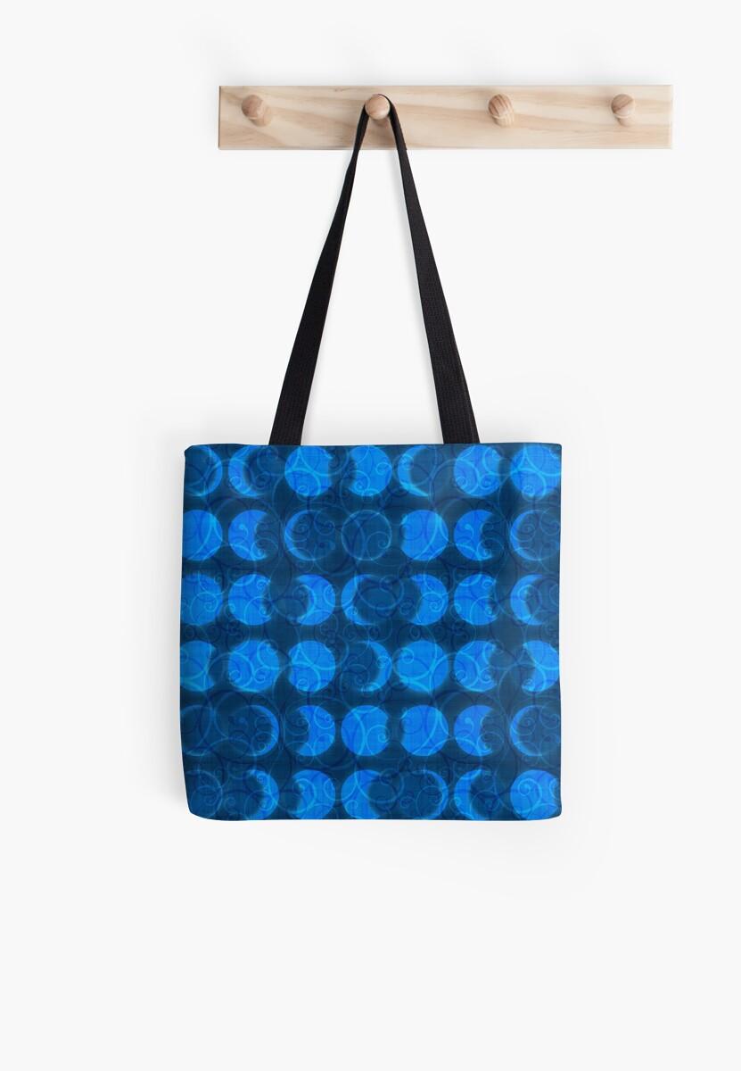 Solar Eclipse Swirls Geometric Pattern – Blue by Nicole Demereckis