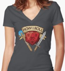 d20 Dungeons and Dragons Dice RPG Tee Women's Fitted V-Neck T-Shirt