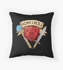 d20 Dungeons and Dragons Dice RPG Tee Throw Pillow