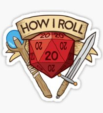 d20 Dungeons and Dragons Dice RPG Tee Sticker