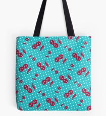 Retro Rockabilly Polka Dots with Cherry Skulls Pattern - Turq Red Tote Bag