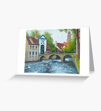 Canal cruise on Minnewater in Bruges/Brugge, Belgium Greeting Card