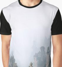 Zhangjiajie National Forest Park mountains in fog panoramic landscape scenery art print Graphic T-Shirt