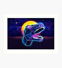 Electric Jurassic Rex - Neon Purple Dinosaur  Art Print