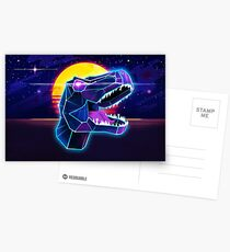 Electric Jurassic Rex - Neon Purple Dinosaur  Postcards
