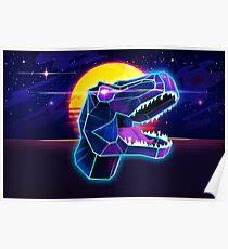 Electric Jurassic Rex - Neon Purple Dinosaur  Poster