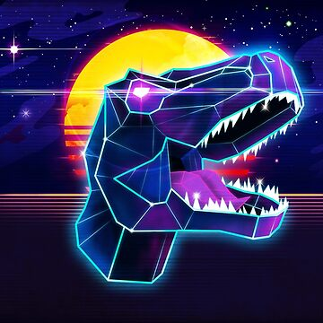 Electric Jurassic Rex - Neon Purple Dinosaur  by forge22