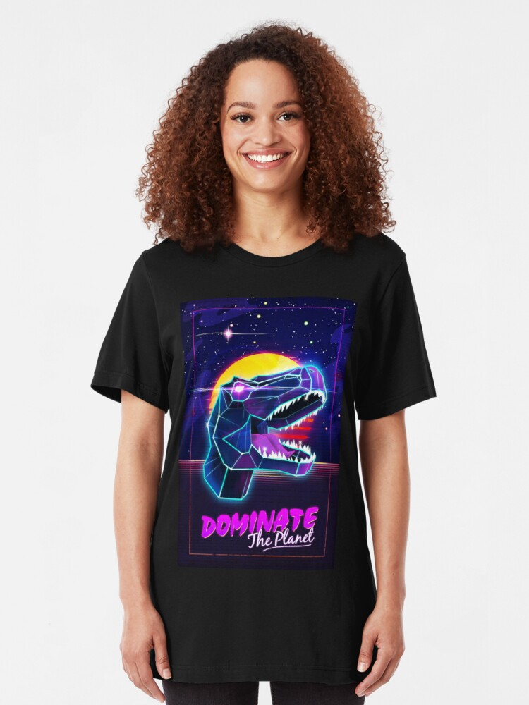 Alternate view of Electric Jurassic Rex - Dominate the Planet Slim Fit T-Shirt