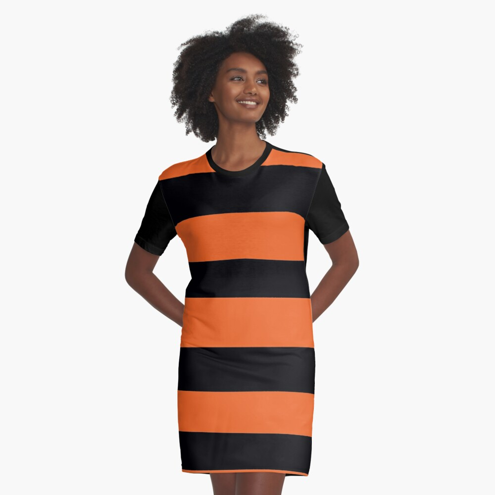 Halloween Stripes - Black and Orange - Classic striped pattern by Cecca Designs Graphic T-Shirt Dress