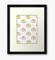 Eggs Kawaii fUNNY happy nerd geek gold yellow rose Framed Print