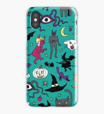Retro Halloween - on Turquoise - Halloween pattern by Cecca Designs iPhone Case/Skin
