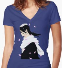 Byakuya Kuchiki Bleach Anime Women's Fitted V-Neck T-Shirt