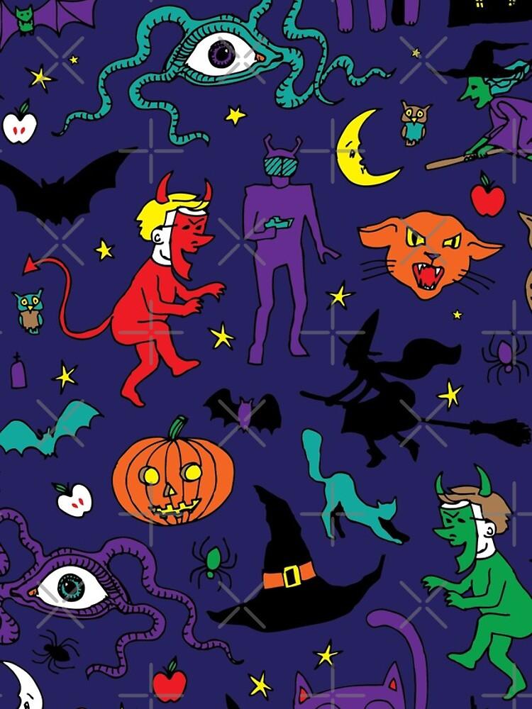 Retro Halloween - original - Patrón de Halloween de Cecca Designs de Cecca-Designs
