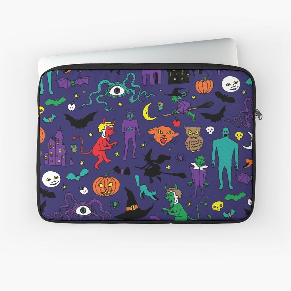 Retro Halloween - original - Halloween pattern by Cecca Designs Laptop Sleeve