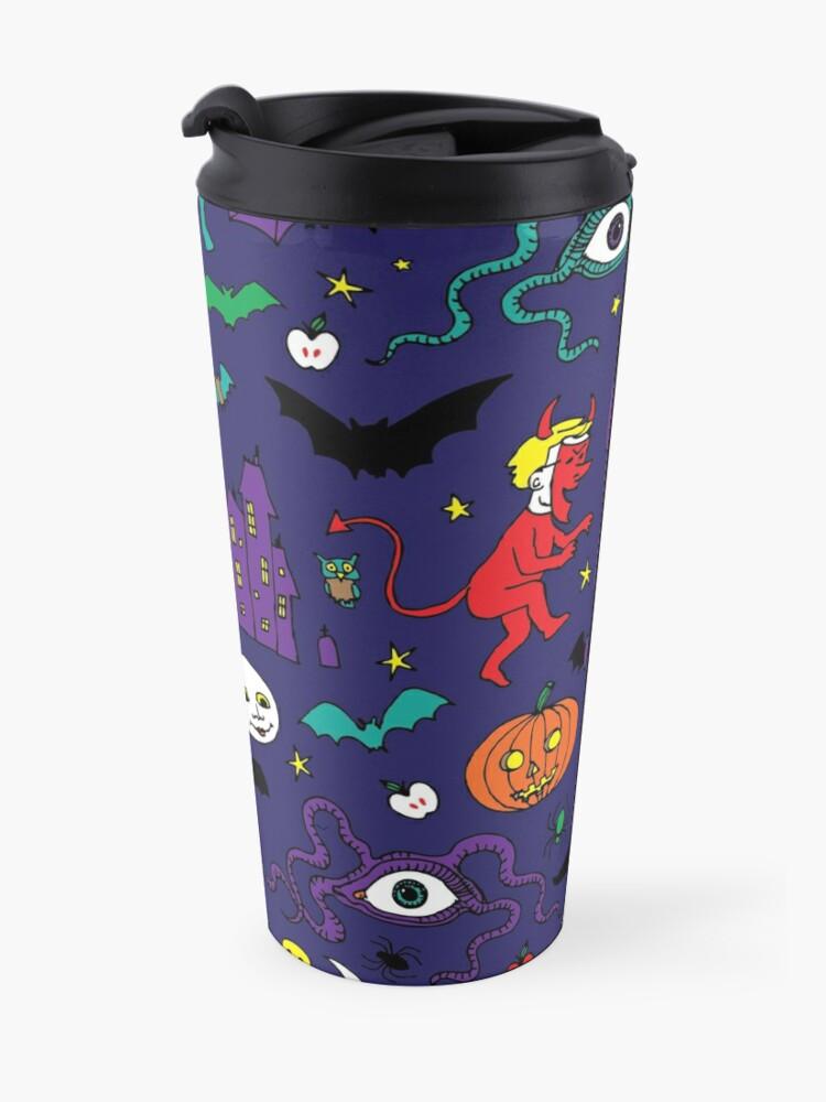 Alternate view of Retro Halloween - original - Halloween pattern by Cecca Designs Travel Mug