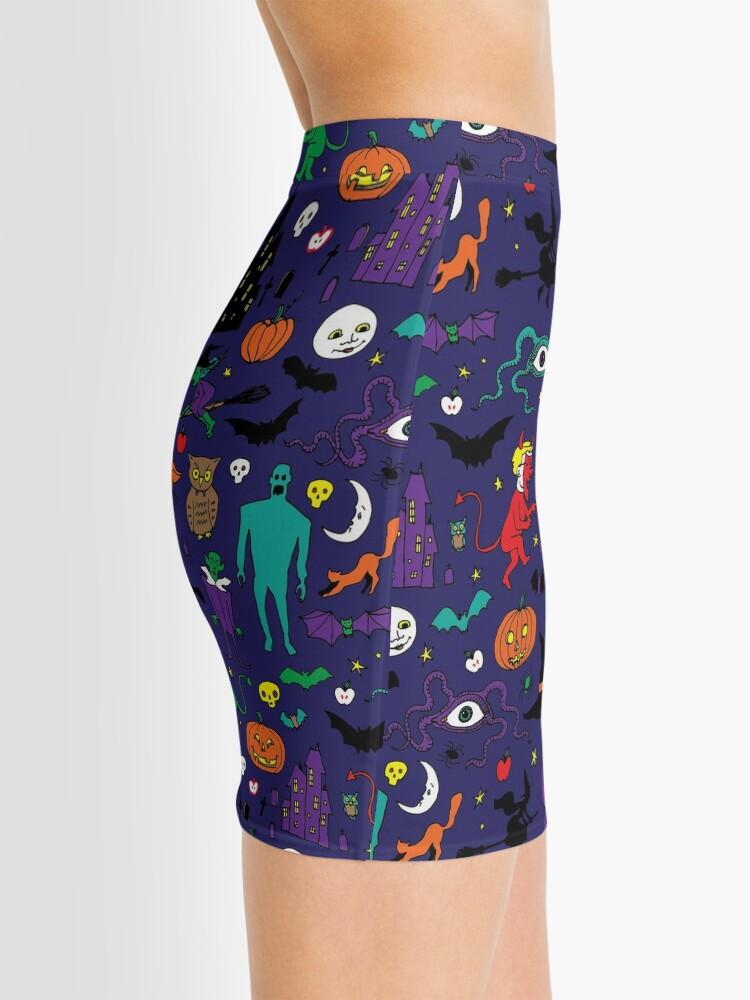 Alternate view of Retro Halloween - original - Halloween pattern by Cecca Designs Mini Skirt