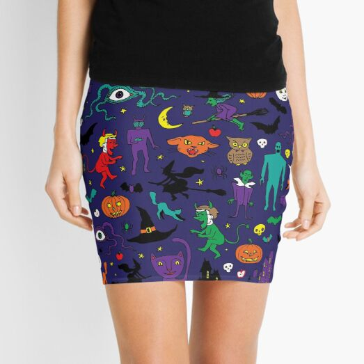 Retro Halloween - original - Halloween pattern by Cecca Designs Mini Skirt