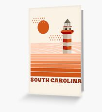 South Carolina - retro 70s style travel poster minimal lighthouses 1970's ocean beach  Greeting Card