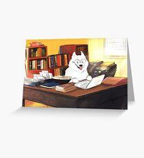 Studious Samoyed Greeting Card