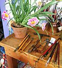 OUTDOOR STUDIO WITH ORCHID, TOOLS OF THE TRADE by Barbara Sparhawk