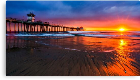 huntington beach dusk canvas prints by radek hofman redbubble