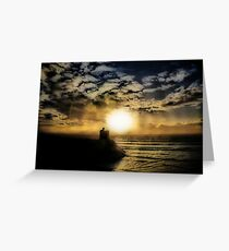 Concentric Silhouette Sunset Greeting Card