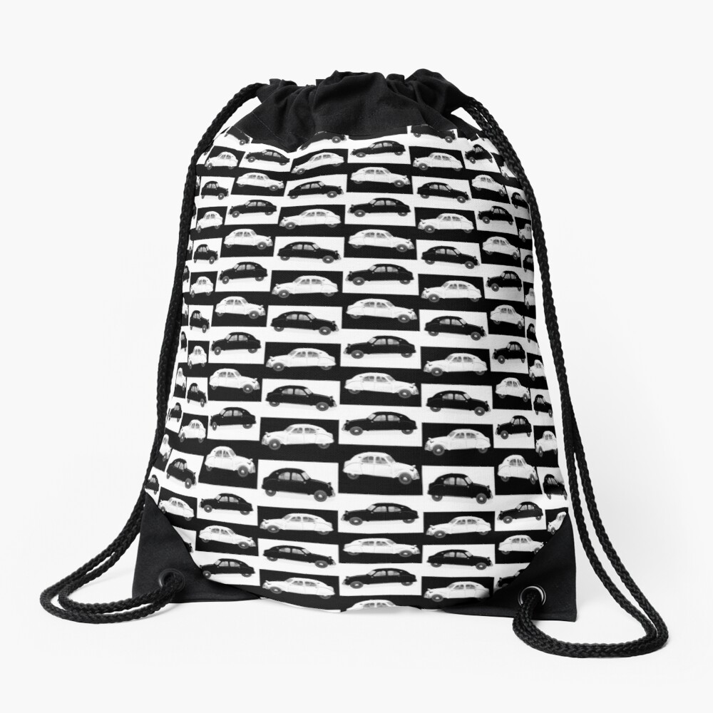 Citroen 2CV Pattern Drawstring Bag