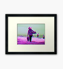 Vietnamese beach seller surrealism Framed Print