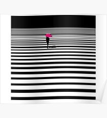 line pink black and white rain  Poster