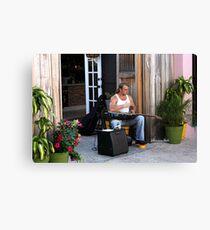Striking a Chord ~ a Street Musician Canvas Print