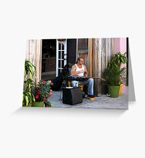 Striking a Chord ~ a Street Musician Greeting Card