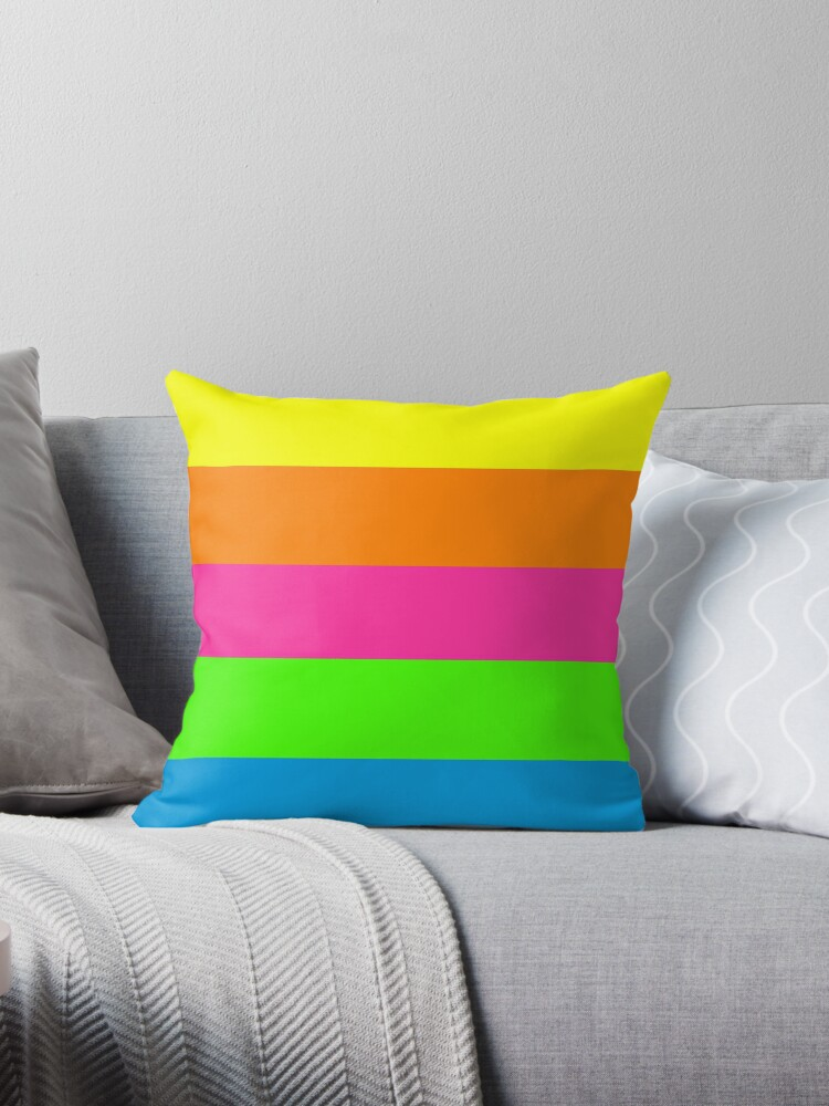 PLAIN SOLID NEON FLUORESCENT RAINBOW STRIPES 5 COLORS  by ozcushions
